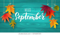 Hello September with autumn leaves